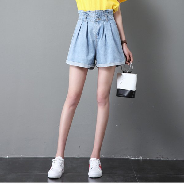 Shorts Women Plus Size High-waist Denim Shorts 26-32 Pockets Short Feminino Casual Spodenki Damskie
