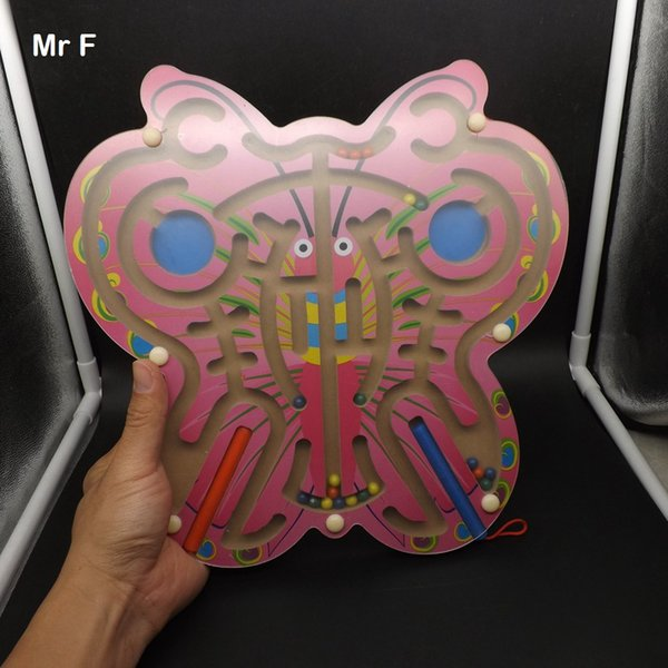 Toys For Children Big Butterfly Maze Wooden Puzzle Magnetic Ball Labyrinth Brian Mind Toys Intelligence Game