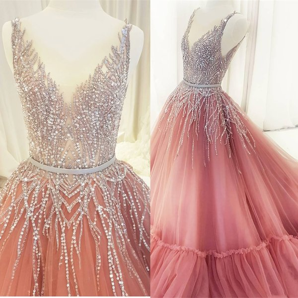 8a5fbe39 Luxury Crystal Princess Prom Dresses Long 2019 Sheer Jewel Neck Ball Gown  Bead Sequin Tulle Formal