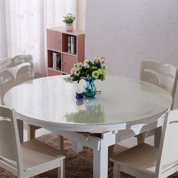 Round Waterproof Clear PVC Tablecloth Table Cover Matte Desk Protector Cloth Placemat 1.5mm Thickness 23'' 27'' 31''