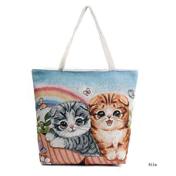 Kawaii Flower Cat Printing Tote Lady Handbags Stylish Girls Canvas Single Shoulder Bag Women Portable Shopping Bag