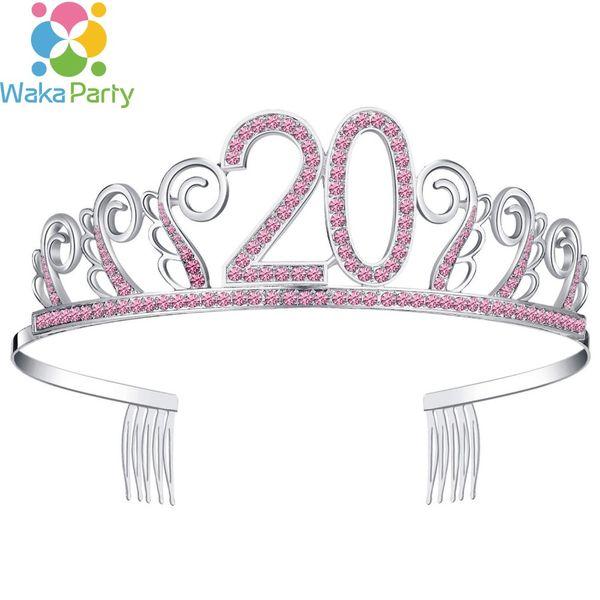 Reina 20 Cumpleaños Tiara Girl 20ª corona de cumpleaños Diamante de plata Crystal Diamond Crown Happy 20th