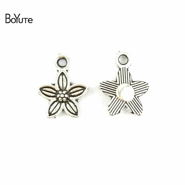 BoYuTe (100 Pieces/Lot) Antique Silver Plated Metal Alloy Flower Charms for Bracelets Jewelry Finding Components Accessories Diy Hand Made
