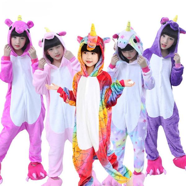 Free Shipping Unisex Children Kids Toddler Pajamas Unicorn Pyjamas One piece Cartoon Warm Winter Cute Bath Robe Sleepwear Pattern Hoodies