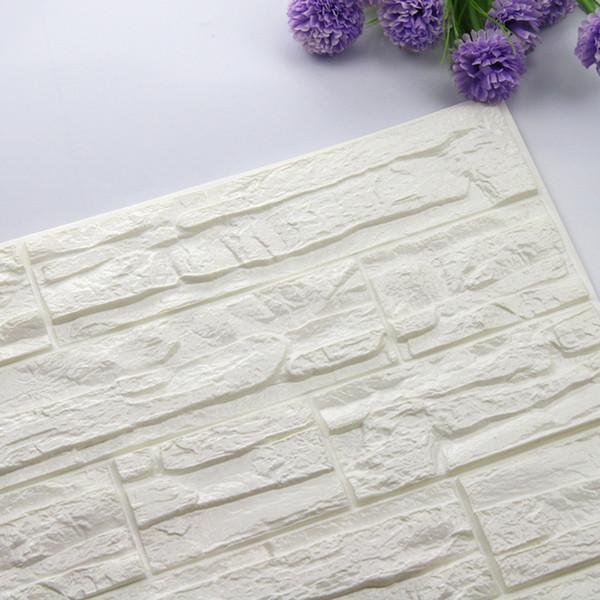 ISHOWTIENDA DIY 3D Brick PE Foam Wallpaper Panels Room Decal Stone Decoration Embossed DIY Self Adhensive 3D Brick Wall Stickers