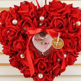 wedding ring box Wedding decorations Heart-shape Flowers Valentine's Day Gift Ring Pillow Cushion pincushion ring candy colors