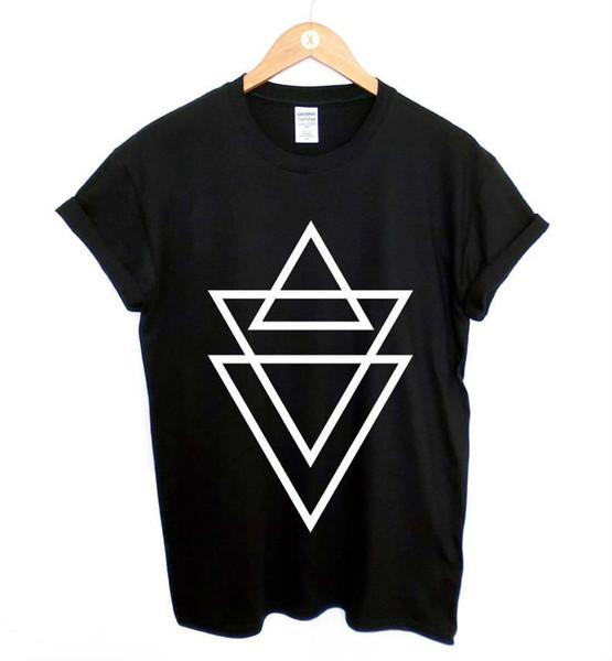 Женская футболка Новая женская футболка с треугольным принтом Хлопок Повседневная смешная рубашка для леди Черный топ Футболка Hipster Большой размер Zt203 - 78