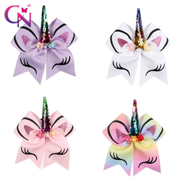 Prinzessin einhorn jubeln bogen mit pferdeschwanz halter band haarschleife haarclips für mädchen cheerleading bögen mädchen haarschmuck haarband