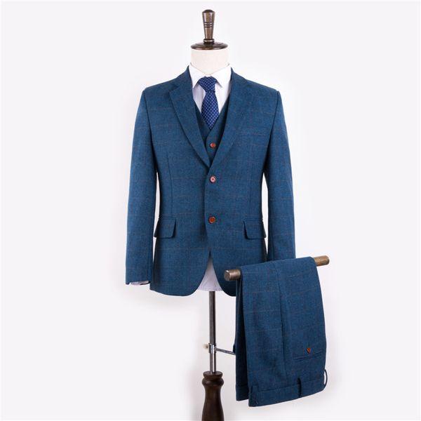 Herren Blazer Anzüge Wolle Blau Herringbone Retro Gentleman Style Tailor nach Maß 3 Stück (Jacke + Pants + Weste)