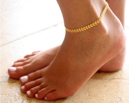 Versión coreana de oro brillante y plata dos escamas de peces tobillos geométricos flecha delicada pie de la pulsera del pie joyería