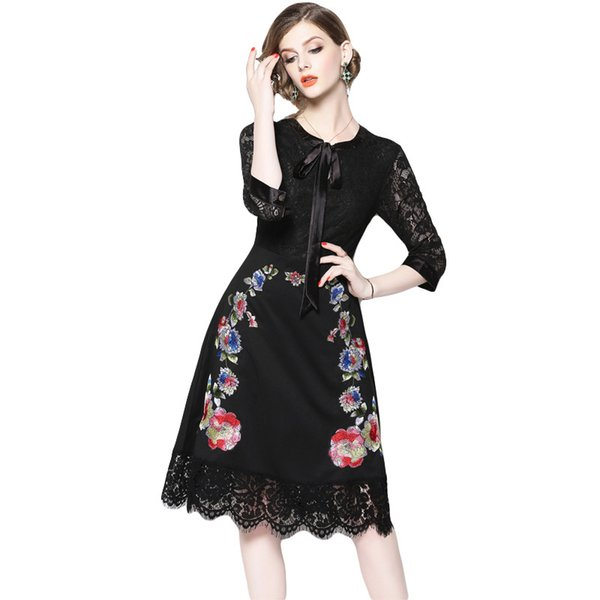 Formal Prom Dresses for Women Party Lace Dress Long Sleeve Embroidery Floral Elegant Slim Little Black Dress