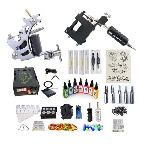 Kit de tatuaje profesional 2 Pistola (rotativa hecha a mano) Máquina con fuente de alimentación de alta calidad 2 empuñaduras Tubo de vástago posterior 7 Tinta 50 agujas G2A4R3