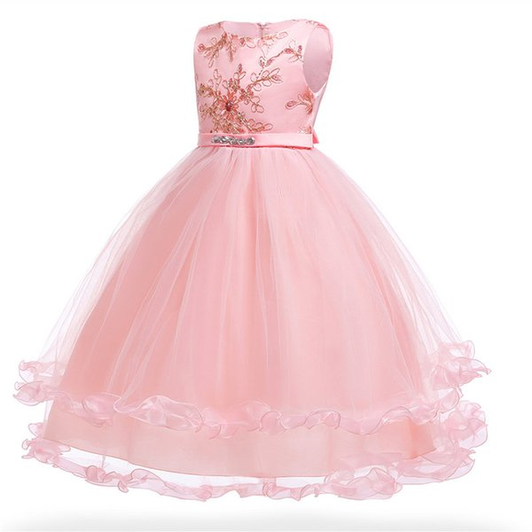 Flower Girl Dress Children clothing 3-14 year Kids Girls Wedding embroidery Princess Pageant Formal Tulle long party dress