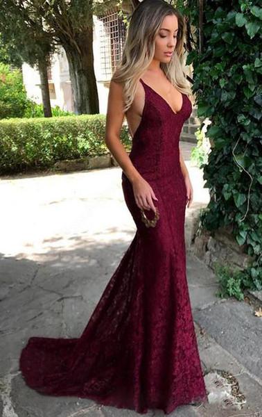 Уникальный бордовый кружева вечерние платья русалка Пром платья 2018 Сексуальная глубокий V шеи спинки длинные вечерние платья для женщин платья партии США Великобритания