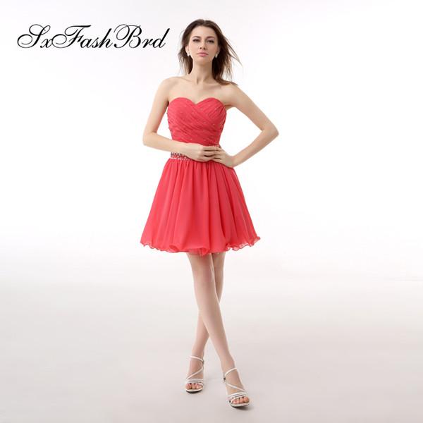 Fashion Elegant Sweetheart With Beading A Line Mini Short Chiffon Party Formal Evening Dresses Women Prom Dress