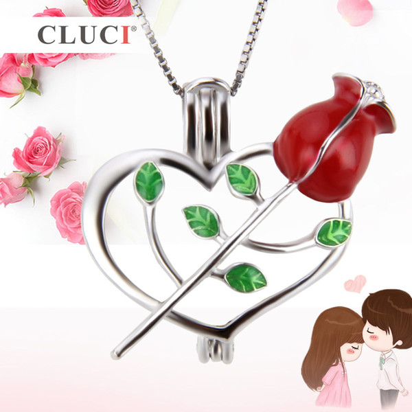 Valentine's Day Theme 925 Sterling Silver Rose and Heart Cage Pendants DIY charms, 21.5*23.8*10.5mm