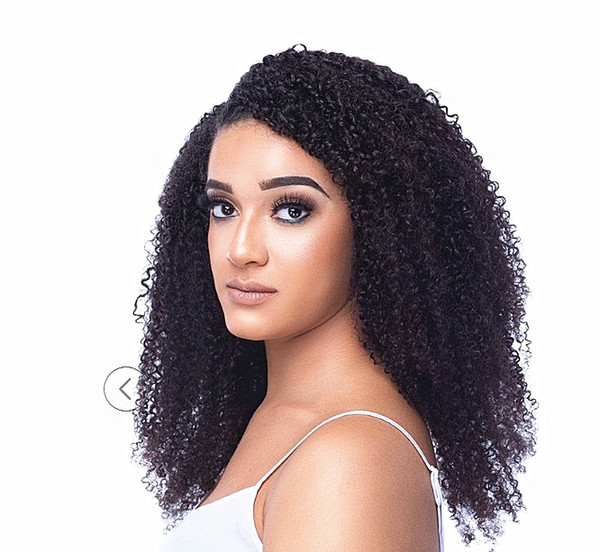Fashion Brazilian Human Virgin Remy Hair Kinky Curly Hair Weft Human Soft Double Drawn Hair Extensions Unprocessed Natural Black Color