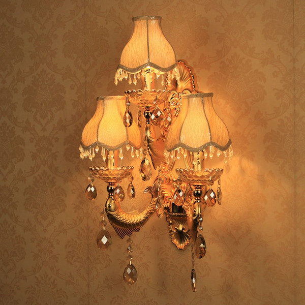European Golden Carved Alloy Fish Crystal Corridor Wall Lights Bedroom Bedsides Wall Sconces Candle Style Living Room Wall Light