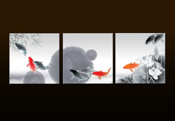 Framed/Unframed Large 3 Panel Set Animal Paintings Modern China's wind Feng Shui Fish Koi painting Canvas Print Wall Art for Office Decor
