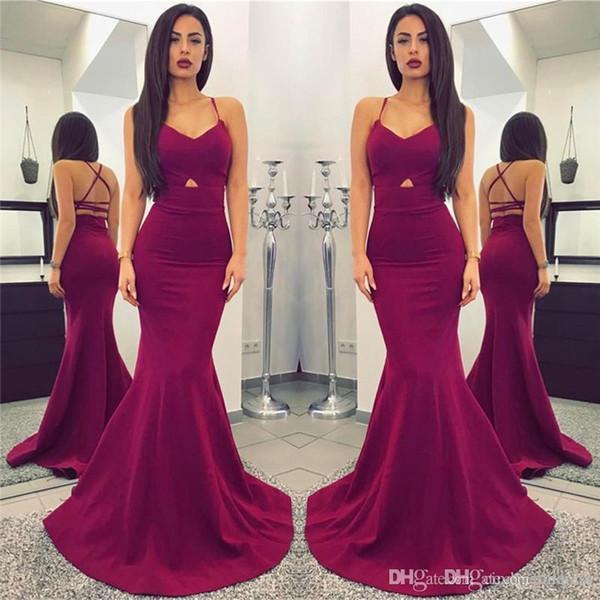 New Designer Cheap Simple Plum 2018 Long Mermaid Prom Dresses Sexy Spaghetti Straps Backless Floor Length evening dress vestidos de fiesta