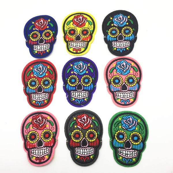 15pcs Mixed Skull Clothes Patch DIY Skeleton Embroidered Patches Iron On Fabric Badges Sew On Cloth Stickers
