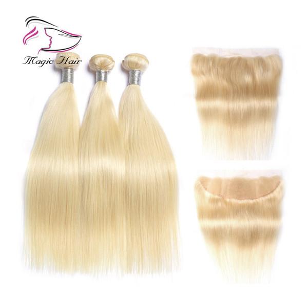 8A Extensiones brasileñas del pelo de la Virgen de Remy Sedoso Recto 613 Paquetes de cabello humano rubio con cierre 3 paquetes con 13 * 4 encaje frontal