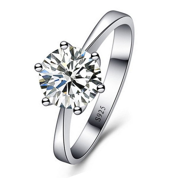 best selling 925 silver plated wedding rings Women Classic Engagement Ring 6 Claws simulated Diamond ring womens ladies fashion Jewelry wholesale
