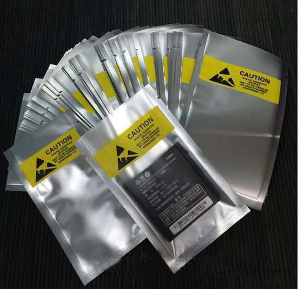 Open Top ESD 8*15cm Plastic Packing Bag Antistatic Anti-Static for phone flex cable battery Plastic Package Pouch Yellow label