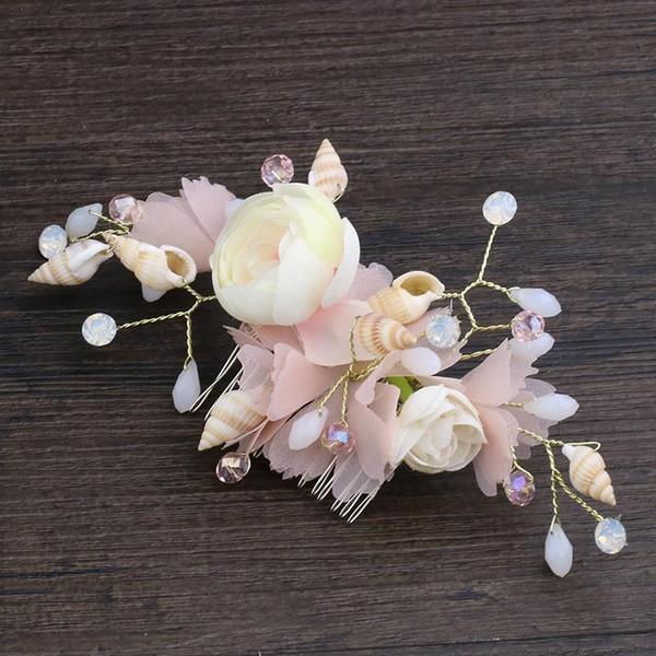 Bride Headwear Factory with Crystal Bride hair comb Pink Silk Yarn Flower Conch Headwear Alloy insert com