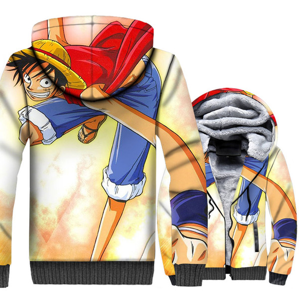 One Piece Luffy 3D Hoodies Men The Pirate King Chaquetas Hipster Sudaderas Thick Fleece Harajuku Anime Coat Cool Sportswear