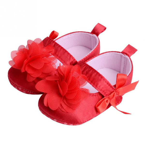 2018 New Arrive Sweet Baby Girls Big Flower Prewalkers Shoes Crib Baby Princess First Walkers Infant Toddler Soft Soled Shoe