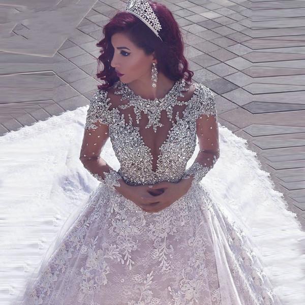 Neueste Schulterfrei Spitze Appliques Ballkleid Brautkleider Pailletten Brautkleider Kapelle Zug Formale Kirche Arabisch Dubai Luxuriös