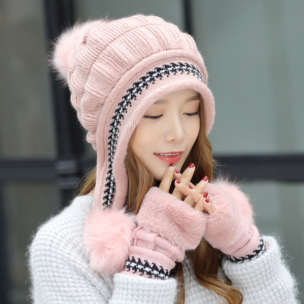 1 Set Ladies Knitted Winter Gloves Beanie Hat Set Plush Warm Slouchy Beanies Pompom Skull Ski Caps Fingerless Gloves Cap Gorro