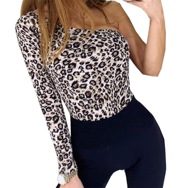 New Fashion One Shoulder Sexy Bodysuits Sexy Leopard Printed Rompers Women Body Top Jumpsuit Autumn Bodysuit Bodycon Chic M0251