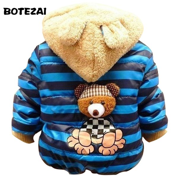 1pc Retail Baby boys Bear Winter Coat,children outerwear, Kids cotton thick warm hoodies jacket boys clothing in stock
