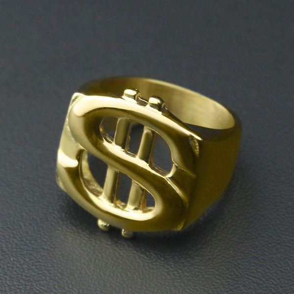 HIP Hop Rock Iced Out Bling Gold Color Titanium Stainless Steel US Dollar Sign Signets Rings for Men Jewelry