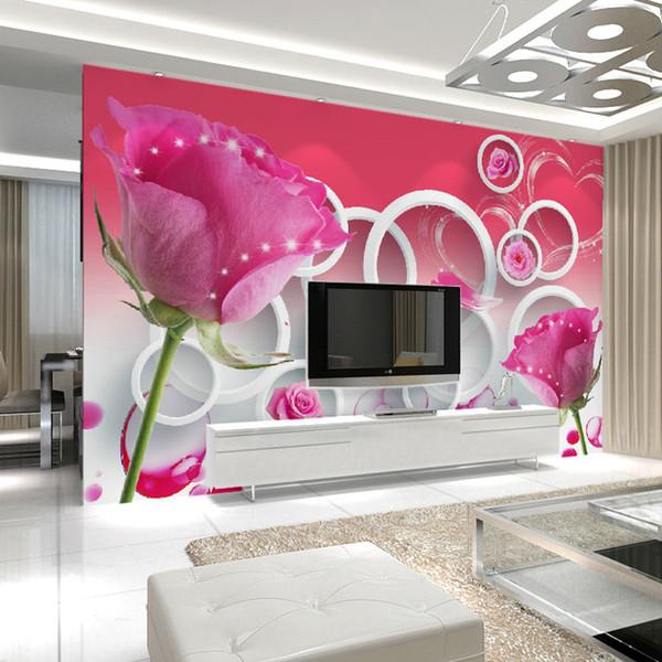 Fashion Romantic Roses Tv Background Wallpaper 3d Stereo Living Room Large Mural Wedding Wedding Room Bedroom Wallpaper Textured Wallpaper