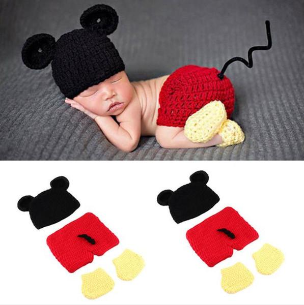 Apoyos de la fotografía del recién nacido Niños bebés Niñas Trajes de vestuario de ganchillo Tejer 0-4 meses accesorios de fotos para bebés