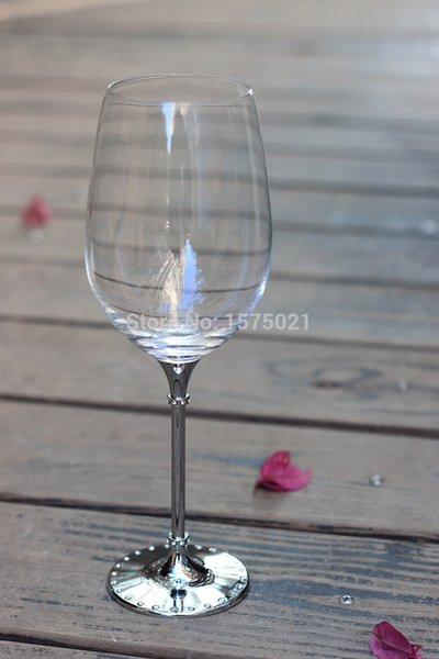 new design hot sale clear 597ml red wine glass with metal stem