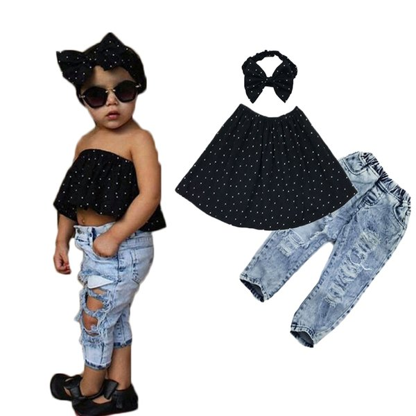 Summer Kids Fashion Girls Clothing Sets 3 pieces Black Blouse Top & hole Casual Jeans&Hair band Girls Clothes Set