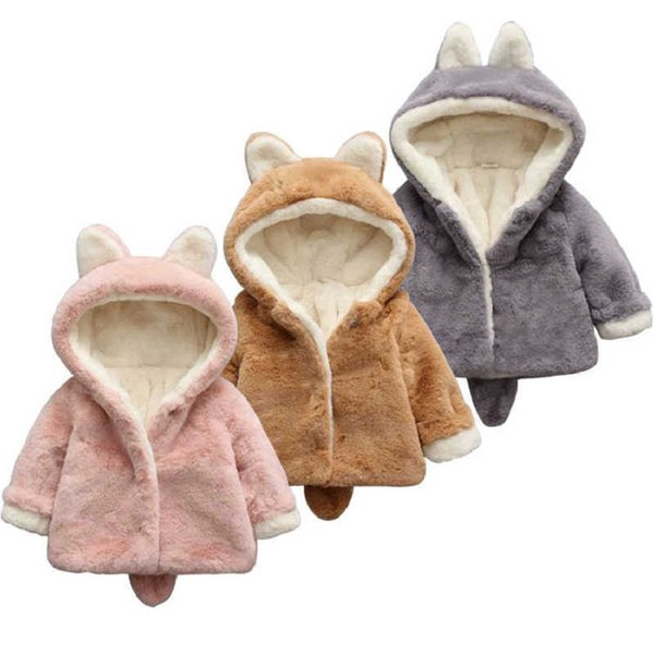 New Brand Infant Baby Girls Winter Clothes Fur Coats Newborn Cute Hooded Jacket Cartoon Warm Thick Parka Coat Christmas Gifts