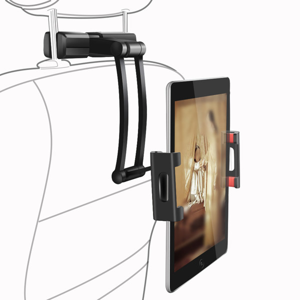 Aluminiumlegierung Auto-Rücksitz-Telefon-Halter 14-26cm Ausziehbare ipad Halter Tablet Handy-drehbare Auto-Kopfstütze Ständer Halter für ipad iphone