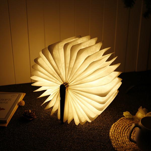 LED Night Light Folding Book Light USB Port Rechargeable Wooden Magnet Cover Home Table Desk Ceiling Decor Lamp White/Warm White