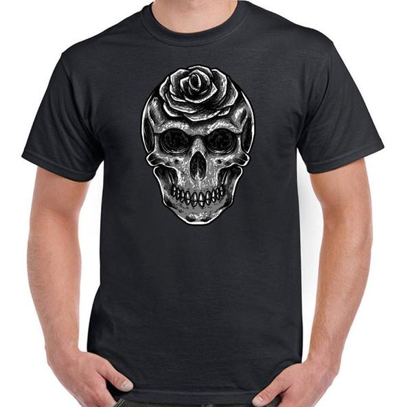 Rosen Totenkopf Herren gotischen Stil T-Shirt Biker ROCKMUSIK METAL PESADO
