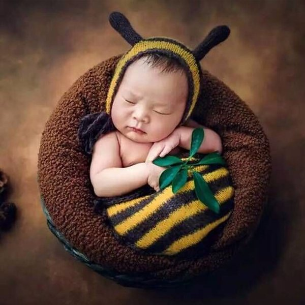 Puseky Hot Newborn Baby Photography Props Unisex Costume Animals Baby Bee  Outfits Studio Shooting Clothing cfb7b8415dda