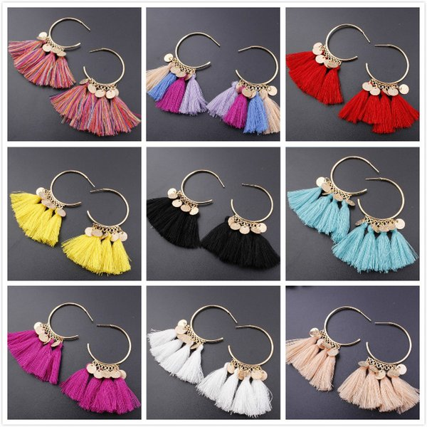 2018 neue Stil ethnischen Böhmen Tropfen baumeln lange Seil Fringe Baumwolle Quaste Ohrringe Trendy Sektor Ohrringe für Frauen Modeschmuck