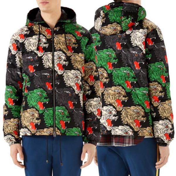 Мужская нейлоновая ветровка куртка со съемным капюшоном печатных Multi Panther лицо полный молния верхняя одежда человек зимняя одежда