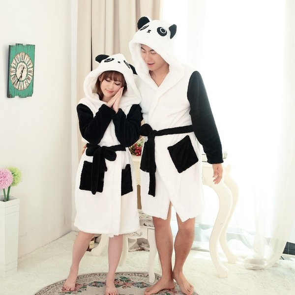 Couple Nightgown Winter Bathrobe Panda Cartoon Unisex Pajama Autumn Coral Fleece Hoodie Animal Robes Sleepwear