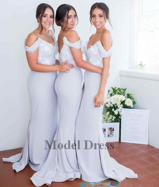 Grey Bridesmaid Dresses Long Mermaid Floor Length Off the Shoulder Flower Appliques Satin V Neck Evening Party Gowns 2018 New Arrivals