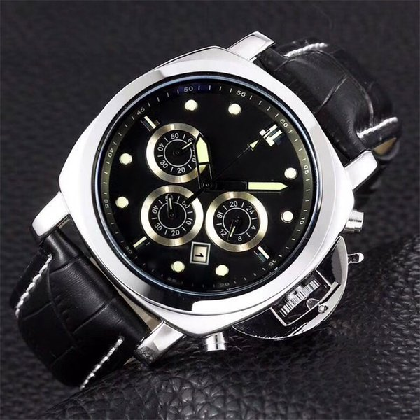 45mm Men's Watches Famous Brand Steel Watch Case Black Dial Leather Band Luminous Waterproof Japan Move Quartz Battery Mens Wristwatches PN1